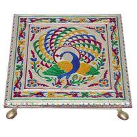 Peacock Design Silver Meenakari Chowki