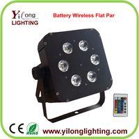 cheap 6X18W RGBWAUV wireless up light,battery powered led light,flat par led,cheap dmx stage light