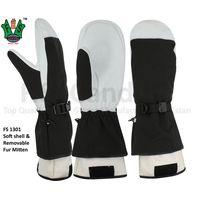 Soft shell & Removable Black Fur Warmest Mitten