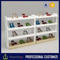 2017 Modern new design shoe display floor wooden shoe display rack