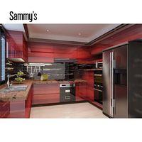 Save space veneer wood door design kitchen cabinets without handles