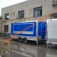 Blue color mobile food trailer cart electric hot dog street fast food truck caravan