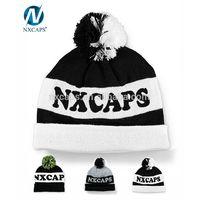 Custom black white letter jacquard slouchy pom beanie knit slouchy beanie hat