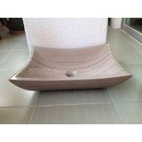 Grey wooden marble vessel sink