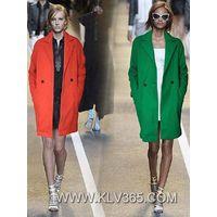 European Designer Women Fashion Winter Wool Long Jacket Wholesale
