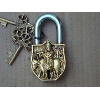 Antique Brass Pad Lock with Lord Krishna sculpture Pad Locks
