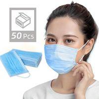 50 Pcs Disposable Face Masks Thick 3-Layer Masks