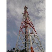 60M Self-supporting 4-legged Lattice Telecommunication Steel tower, Design Wind Speed 150kmph, 15SQM