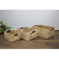 Rect water hyacinth baskets for laundry baskets, new design-SD6199B-3NA