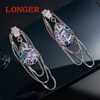 Luxury inlay AAA zircon long earrings earrings for women thumbnail image