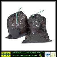 black plastic drawstring trash bags