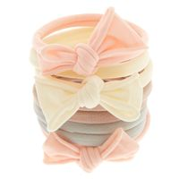 Beauty girl elastic hair bands Baby Pink Bow Rolled Hair Bobbles 8 Pack