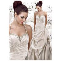 A-line Halter Satin Floor-length Wedding Dress