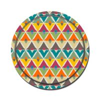 Melamine coating Round Wooden Tray-Diamonds