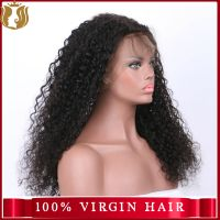 Wholesale Natural Color Brazilian Virgin 100% Human Hair Deep Wave Full Lace Wig thumbnail image