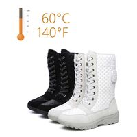 HS6 Women Ankle Snow Booties, Electric Rechargeable Heated Winter Boots