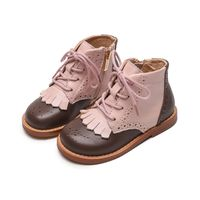 Kids Shoes Kid Little Girls Leather Ankle Boots Waterproof Zipper-Lace-Up