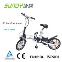 16-inch spoked wheel Mini Folding Electric Bicycle-black