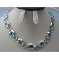 Sterling Silver Jewelry Blue Topaz CZ Link Necklace (N-024) thumbnail image