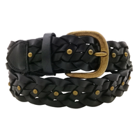 Mens Women Hand Raced Braided Genuine Jeans Leather Belt Black Ceinture Belts Regular Size