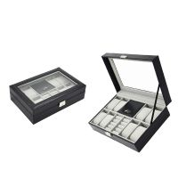 Custom wholesale high quality PU leather watch jewelry boxes    black Watch Boxes