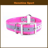 reflective strip TPU dog collar with center ring