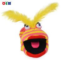 Competitive factory price Knitted Hand Puppet for adult nice stripy hand puppet toys