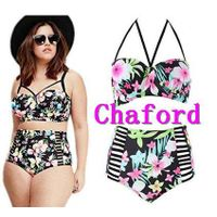 Womens Plus Size Vintage Floral High-waist Bikini Swimwear Beach