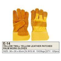 YELLOW TWILL YELLOW LEATHER PATCHED PALM WORK GLOVES thumbnail image