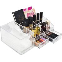 Acrylic Cosmetics Makeup Storage Case Display Set With Tissue Holder-Interlocking Scoop Drawers