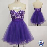 2014 fashion sleeveless sweet heart lace-up back beads belt mini  prom dress skirt