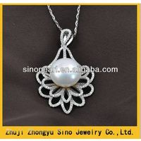 925 silver with diamonds clasp freshwater pearl pendant pearl pendant