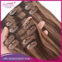 Wholesale Human Hair Clip In Extensions Cheap Price P4/8# mixed Color Clip In Hair Extension thumbnail image