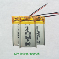 Hot selling lipo 602035 3.7v 400mah lithium polymer battery for bluetooth