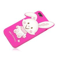 Lovely Rabbit Silicone Soft Cases for iPhone 5/5S - Rose Red