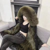 Parka for lady made by real Raccoon fur Oxford cloth