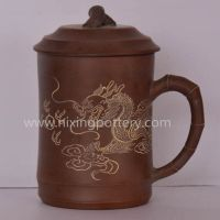 Nixing Pottery Dragon Tea Cup Ceramic Hand Carving Tea Mug Coffee Water Cup 450ml