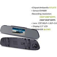 4.3inch LCD HDR A7 car dvr ambarella  full hd 1296P camera dvr car gps car G sensor rearview mirror  thumbnail image