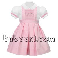 Pink geometric smocked scallop dress for little girls - DR 2280