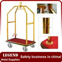Titanium gold coated stainless steel concierge birdcage Bellman Used hotel luggage cart thumbnail image