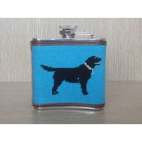Labrador light blue needlepoint flask with 5 oz stainless steel