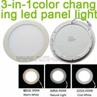 3W 4W 6W 9W 12W 15W 18W 24W Round Flat 3 Color LED Panel Light