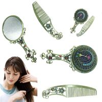 Peacock Make Up Mirror Chinese Vintage Hollow-out Carving Rhinestone Mirror Comb Set thumbnail image