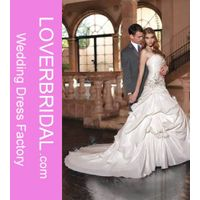 A-Line Lace up Taffeta Wedding Dress