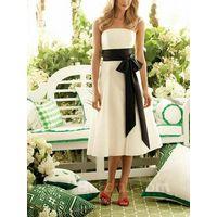 Fashion White A Line Bridesmaid Dress Strapless Sash Bridesmaid Gown thumbnail image