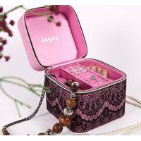 Fabric Jewelry box with lacie decoration, NEW!