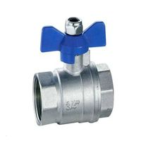 Butterfly Handle Brass Ball Valve Nickel Plated (T01045)