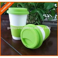 China manufacturer high quality unglazed ceramic travel mugs, custom ceramic coffee mug with silicon