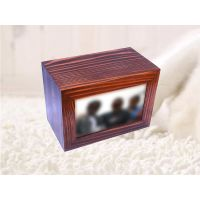 wooden pet urn box with photo frame