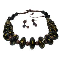 Wooden Beaded Necklace Earrings Set